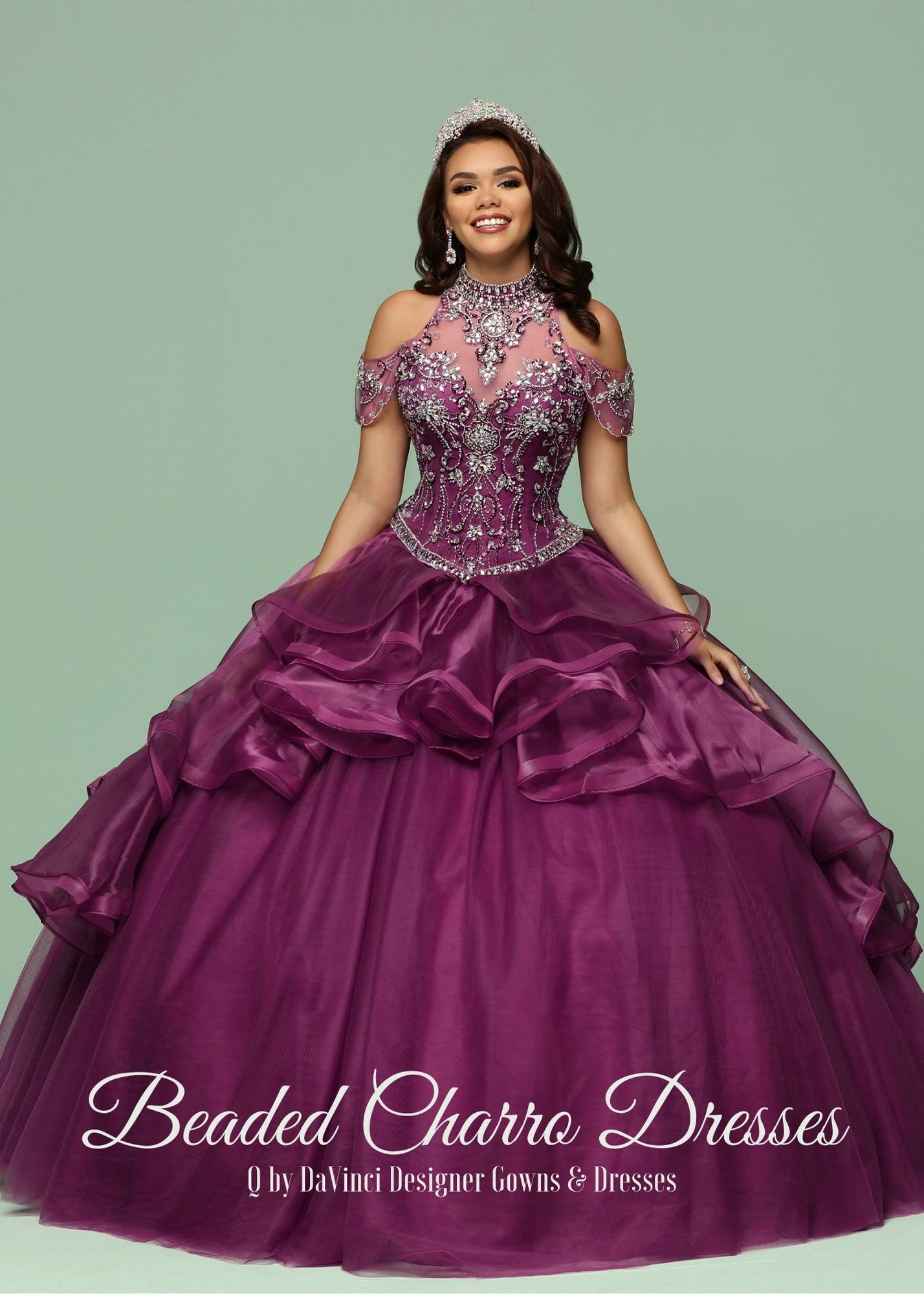 Beaded Charro Quinceanera Dresses