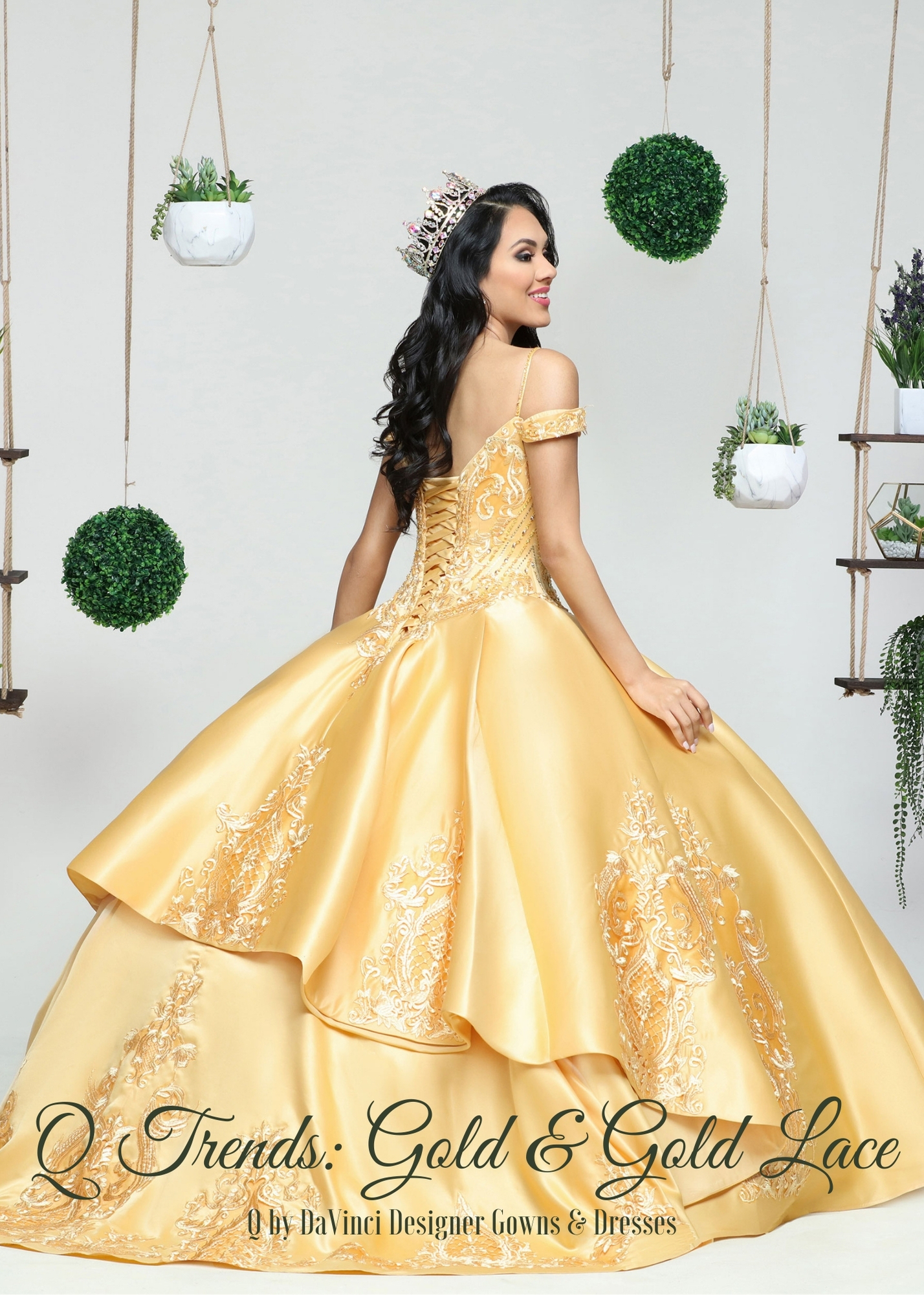 Quinceanera Dress Color Trends: Gold & Gold Lace
